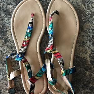 Beautiful multi color, printed sandals- SIZE 11